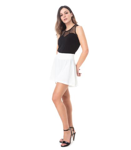 Shorts bianchi effetto gonna, 11G7T7639TSBIAN40, 001