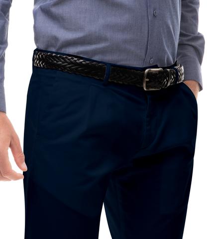 Pantaloni blu in cotone raso con una pince, Abbigliamento, 13T2T6101TSBLUE44, 002