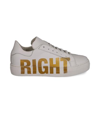 Sneakers bianche in pelle con stampa gialla, Scarpe, 13A6T9011PEBIAN036, 001