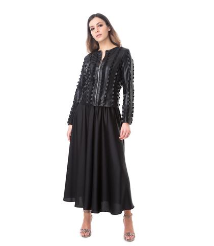 Giacca nera in eco-pelle lavorazione ad intaglio, Abbigliamento, 1365T1080EPNEROL, 001