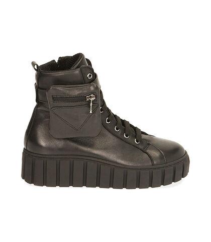 Sneakers nere in pelle, tacco 5 cm, Valerio 1966, 18L6T2008PENERO035, 001