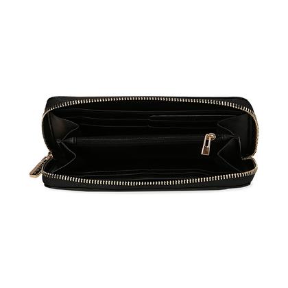 Portafoglio nero in eco-pelle, quindici taschini, Borse, 1057T9023EPNEROUNI, 002