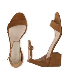 Sandali cuoio in camoscio, tacco chunky 5,50 cm, SALDI, 13D6T0807CMCUOI036, 003 preview