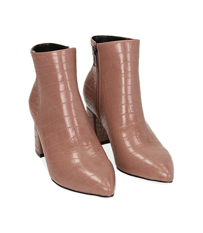 Ankle boots nude stampa cocco, tacco 6,50 cm , Valerio 1966, 1621T3911CCNUDE035, 002
