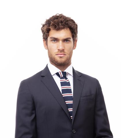Cravatta blu in cotone con fondo dritto, Valerio 1966, 11I9T0028TSBLUEUNI, 002