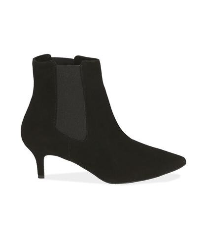 Chelsea boots neri in camoscio , Valerio 1966, 12D6T8401CMNERO035, 001
