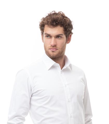 Camicia bianca in cotone, tessuto Montreal Oxford, Abbigliamento, 13H9T8202TSBIAN39, 002