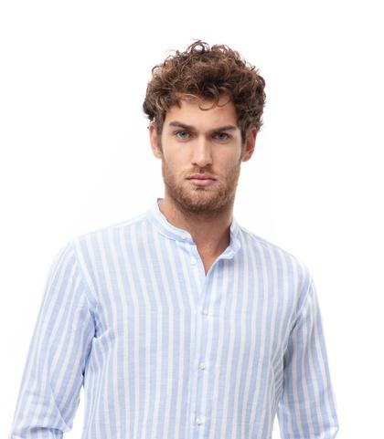 Camicia maxi riga bianco/azzurra in lino, Abbigliamento, 13H9T8210TSBIBL39, 002
