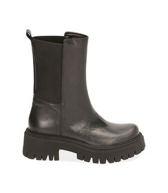 Ankle boots neri in pelle, tacco 5,5 cm , Valerio 1966, 1872T4401PENERO035, 001 preview