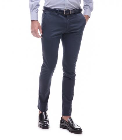 Pantaloni blu cotone raso, Abbigliamento, 13T2T6367TSBLUE44, 001