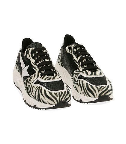 Sneakers nere in pelle stampa cavallino, zeppa 4 cm, Valerio 1966, 18L6T4001CWNERO035, 002