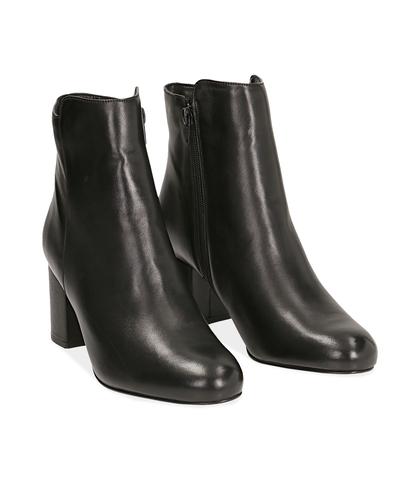 Ankle boots neri in pelle di vitello, 14D6T1101VINERO035, 002