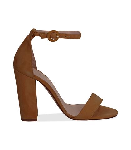 Sandali cuoio in camoscio, tacco a colonna 10,50 cm, Scarpe, 13D6T0707CMCUOI036, 001