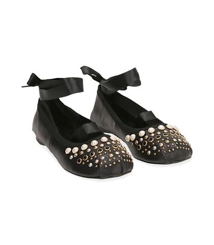 Ballerine con nastri e pietre nere in velluto , Scarpe, 1024T1455EPNERO035, 002