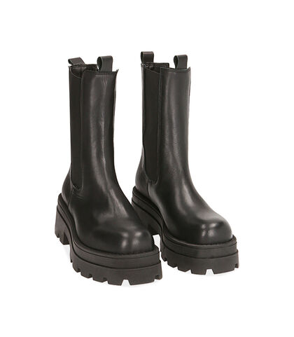 Chelsea boots neri in pelle, tacco 6 cm , Valerio 1966, 1872T9977PENERO035, 002
