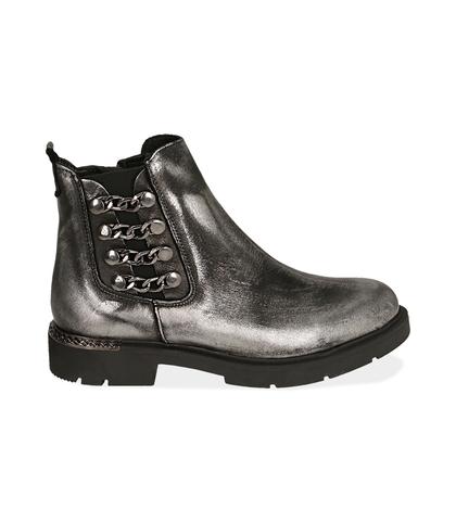 Ankle boots con catene canna di fucile in laminato , Valerio 1966, 1007T0006LMCANN035, 001