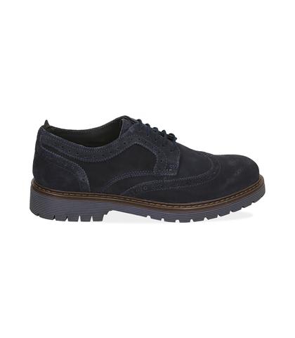 Stringate blue in camoscio , Scarpe, 1277T9902CMBLUE039, 001