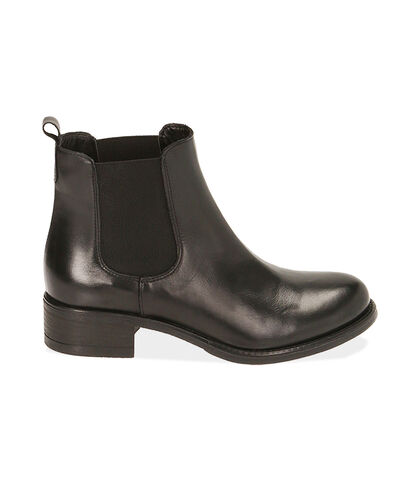 Chelsea boots neri in pelle, tacco 4 cm , Valerio 1966, 18A5T0908PENERO035, 001
