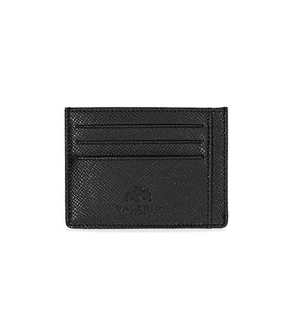 Portafoglio nero in pelle con logo embossed, Valerio 1966, 10A4T1734PENEROUNI, 001