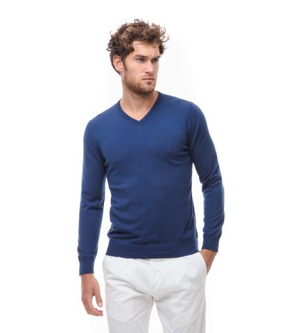 Maglia blu in cotone con scollo a V, Abbigliamento, 13T4T2001TSBLUE48, 001