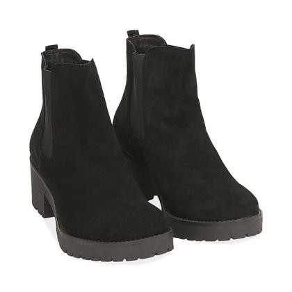 Chelsea boots neri in camoscio, Valerio 1966, 1260T1116CMNERO035, 002