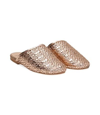 Mules oro rosa in laminato intrecciato, Scarpe, 1162T0110LIROSA036, 002