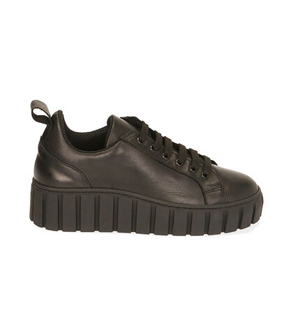 Sneakers nere in pelle, zeppa 5 cm, Valerio 1966, 18L6T2005PENERO035, 001