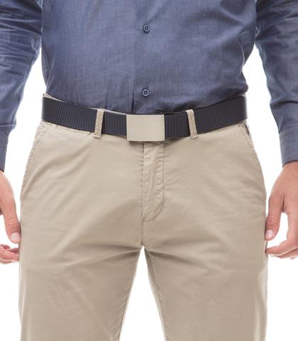 Cintura blu in tessuto intrecciato con fibbia a placca, Accessori, 11F8T0101NYBLUEUNI, 002