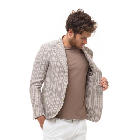 Giacca beige in cotone e lino, doppiopetto, Abbigliamento, 13T1T3003TSBEIG46, 002