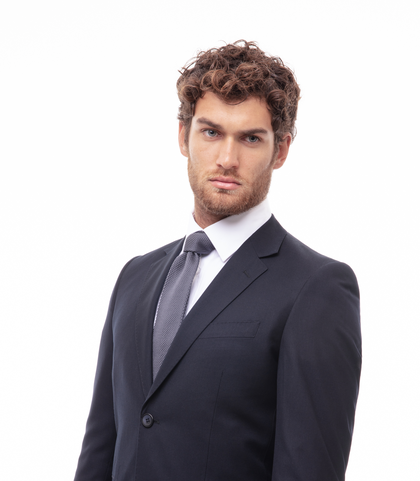 Cravatta grigio in cotone con fondo dritto, Accessori, 11I9T0024TSGRIGUNI, 002