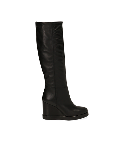 Stivali neri in pelle di vitello, zeppa 9,50 cm , 1602T0056VINERO035, 001