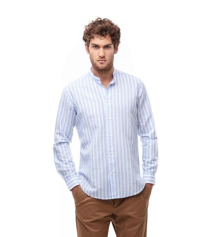 Camicia maxi riga bianco/azzurra in lino, Abbigliamento, 13H9T8210TSBIBL39, 001