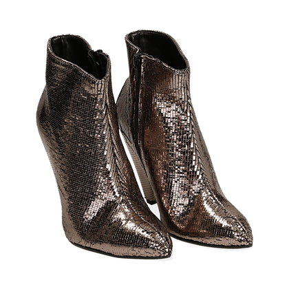 Ankle boots bronzo effetto pitone, Scarpe, 12A4T3141PTBRON035, 002