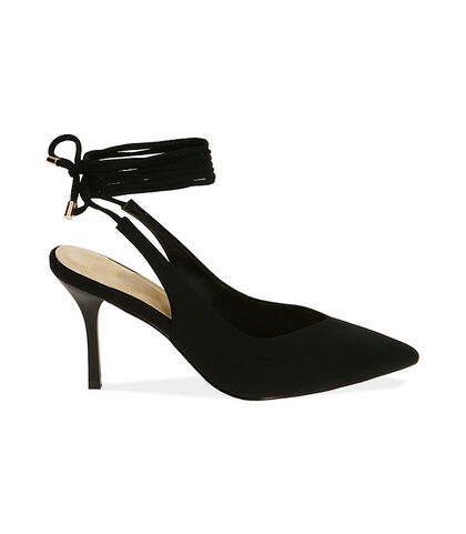 Slingback lace-up nere in lycra, tacco 8,5 cm , Valerio 1966, 1721T6283LYNERO035, 001