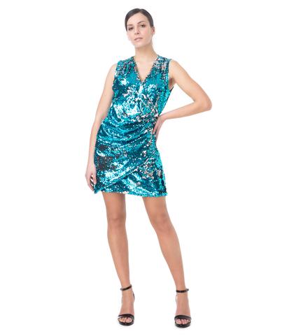 Abito corto asimmetrico azzurro in paillettes, Abbigliamento, 13T8T1091PLAZZUL, 001