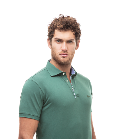 Polo verde in cotone piquet , Valerio 1966, 13I5T0129TSVERD46, 002