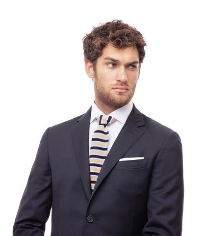 Cravatta blu/beige rigata in cotone con fondo dritto, Valerio 1966, 11I9T0026TSBLBEUNI, 002
