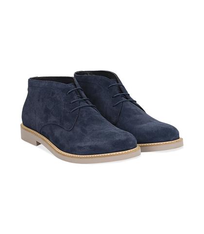 Desert boots blu in camoscio , Valerio 1966, 1198T5847CMBLUE040, 002