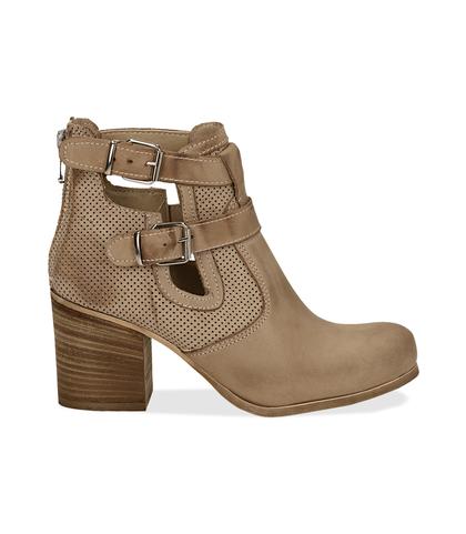 Ankle boots beige in nabuk con cinturini, tacco 7 cm, Valerio 1966, 1156T1601NBBEIG036, 001