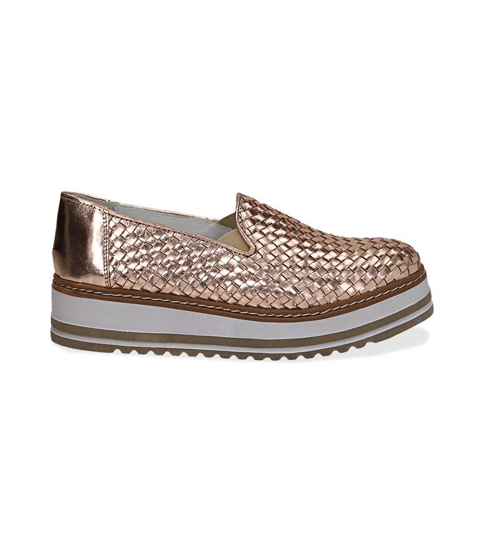Mocassini platform oro rosa in pelle intrecciataScarpe, 1162T0610LIROSA036