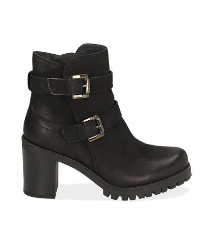 Ankle boots con fibbie neri in nabuk , Scarpe, 1277T3806NBNERO035, 001