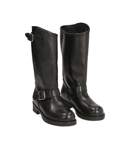 Biker boots neri in pelle di vitello , Valerio 1966, 14A2T0001VINERO035, 002