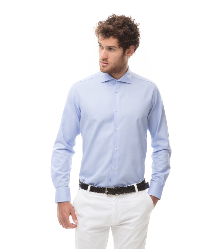 Camicia celeste in cotone