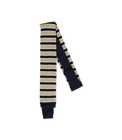 Cravatta blu/beige rigata in cotone con fondo dritto, Valerio 1966, 11I9T0026TSBLBEUNI, 001