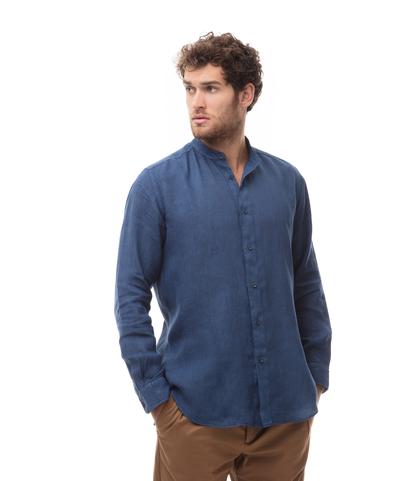Camicia blu cobalto in lino,con collo guru, Abbigliamento, 13H9T8209TSBLCO39, 001