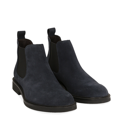 Chelsea boots blu in camoscio , UOMO, 16D4T1123CMBLUE039, 002