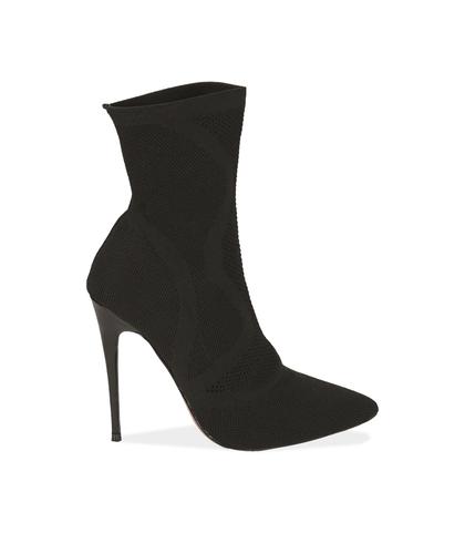 Ankle boots neri in tessuto elastico, Scarpe, 1021T8510TSNERO035, 001