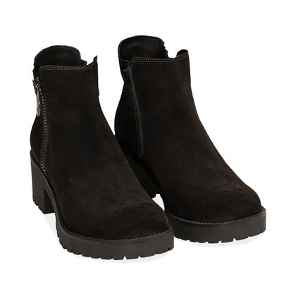Ankle boots neri in camoscio, Scarpe, 1260T1113CMNERO035, 002