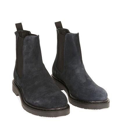 Chelsea boots blu in camoscio, Valerio 1966, 1877T6120CMBLUE039, 002