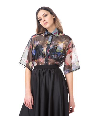 Camicia sheer fiorata, DONNA, 09H9T0021TSFIOR40, 002